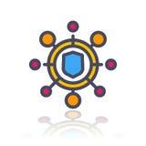Icona cyber di attacco nello stile piano con il profilo illustrazione vettoriale