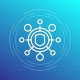 Icona cyber di attacco, pittogramma illustrazione di stock
