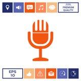 Icona d'annata di simbolo del microfono Fotografie Stock Libere da Diritti