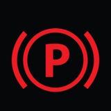 Icona d'avvertimento del segno del cruscotto Vettore di segnale del freno di stazionamento dell'automobile Simbolo di attenzione  Fotografia Stock Libera da Diritti