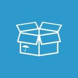 Icona d'imballaggio della scatola con il simbolo dell'ombrello Immagine Stock