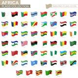 Icona d'ondeggiamento della bandiera, bandiere dei paesi dell'Africa messi in ordine alfabetico royalty illustrazione gratis