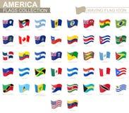 Icona d'ondeggiamento della bandiera, bandiere dei paesi dell'America messi in ordine alfabetico illustrazione di stock