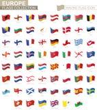 Icona d'ondeggiamento della bandiera, bandiere dei paesi di Europa messi in ordine alfabetico illustrazione di stock