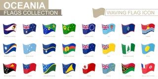Icona d'ondeggiamento della bandiera, bandiere dei paesi di Oceania messi in ordine alfabetico illustrazione vettoriale