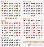 Icona d'ondeggiamento della bandiera, grande raccolta delle bandiere messe dai continenti ed in ordine alfabetico illustrazione di stock