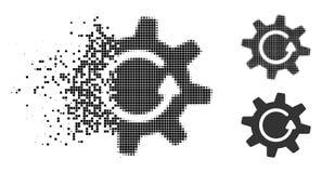 Icona decomposta di Dot Halftone Cogwheel Rotation Direction illustrazione vettoriale