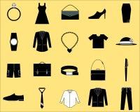 Icona degli accessori e dei vestiti fotografia stock libera da diritti