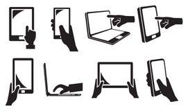 Icona degli apparecchi elettronici del touch screen Immagini Stock