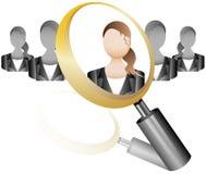 Icona degli impiegati di ricerca per la lente dell'agenzia di reclutamento con l'affare Fotografie Stock Libere da Diritti