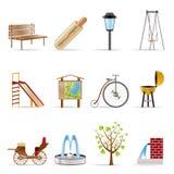 Icona degli oggetti e dei segni della sosta Immagine Stock
