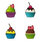 Icona dei bigné o dei muffin di vettore Dessert variopinto con crema, cioccolato, le ciliege e le fragole Sveglio multicolore Fotografia Stock