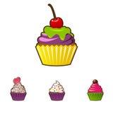 Icona dei bigné o dei muffin di vettore Dessert variopinto con crema, cioccolato, le ciliege e le fragole Sveglio multicolore Immagini Stock