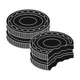 Icona dei biscotti del panino del cioccolato nello stile nero isolata su fondo bianco Vettore delle azione di simbolo dei dessert Fotografie Stock Libere da Diritti
