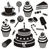 Icona dei dolci e dei dessert Immagini Stock