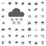 Icona dei fiocchi della neve e della nuvola Icone di vettore del tempo messe Fotografia Stock Libera da Diritti