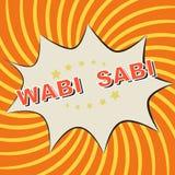 Icona dei fumetti di Pop art su un fondo arancio: Wabi - Sabi Fotografia Stock