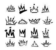 Icona dei graffiti di logo della corona Elementi neri isolati su fondo bianco Illustrazione di vettore Principessa reale della re illustrazione vettoriale