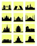 Icona dei paesi delle attrazioni Fotografia Stock