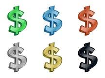 Icona dei soldi 3D del dollaro Fotografia Stock