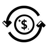 Icona dei soldi di circolazione, stile nero semplice illustrazione di stock