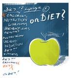Icona del Apple - stia il concetto a dieta, iscrizione a mano libera illustrazione vettoriale