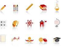 Icona del banco impostata - colore rosso Fotografia Stock