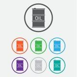 Icona del barile da olio o segno, illustrazione icona di colore con la struttura Immagini Stock