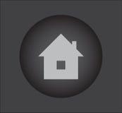 Icona del bene immobile sul bottone nero Fotografie Stock