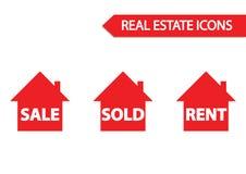 Icona del bene immobile: vendita, venduta ed affitto Immagini Stock Libere da Diritti