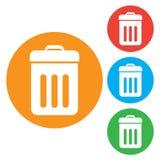 Icona del bidone della spazzatura Bottoni colourful rotondi Fotografie Stock