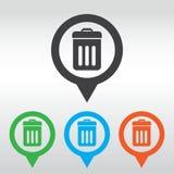 Icona del bidone della spazzatura ENV 10, perno della mappa dell'icona Immagini Stock
