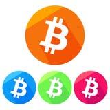 Icona del bitcoin/logo semplici e piani Quattro variazioni Gettare un'ombra Fotografie Stock Libere da Diritti