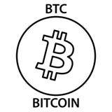 Icona del blockchain di cryptocurrency di Bitcoin Soldi virtuali di Internet e elettronici o simbolo del cryptocoin, logo Immagine Stock