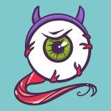 Icona del bulbo oculare del diavolo, stile disegnato a mano illustrazione vettoriale