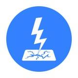 Icona del bullone di fulmine nello stile nero isolata su fondo bianco Illustrazione di vettore delle azione di simbolo di tempo Fotografia Stock Libera da Diritti