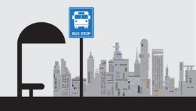 Icona del bus, illustrazione, fermata dell'autobus Fotografia Stock Libera da Diritti