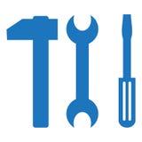 Icona del cacciavite, del martello e della chiave simbolo piano, Immagine Stock Libera da Diritti