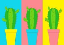 Icona del cactus nell'insieme dell'icona del vaso di fiore Progettazione piana minima Pianta coperta di spine prikly spinosa del  Fotografia Stock
