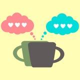 Icona del caffè e conversazione degli amanti Fotografie Stock