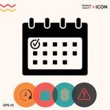 Icona del calendario con il segno di spunta fotografia stock libera da diritti