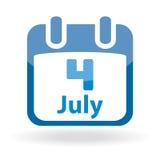 Icona del calendario di festa dell'indipendenza Fotografie Stock Libere da Diritti
