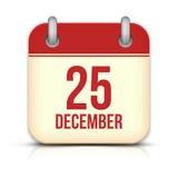 Icona del calendario di giorno di Natale. 25 dicembre. Vettore Fotografie Stock Libere da Diritti
