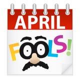 Icona del calendario di giorno di sciocchi di aprile Immagine Stock Libera da Diritti