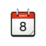 Icona del calendario di vettore con la data dell'8 marzo Fotografia Stock Libera da Diritti