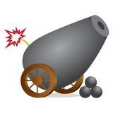 Icona del cannone di Lit Fotografia Stock