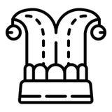 Icona del cappello del giullare, stile del profilo illustrazione di stock