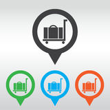 Icona del carrello dei bagagli, perno della mappa dell'icona Fotografia Stock