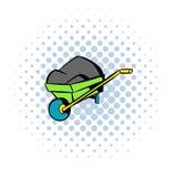 Icona del carrello del monociclo, stile dei fumetti Fotografie Stock