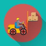 Icona del carrello elevatore a forcale sui bottoni variopinti rotondi Immagini Stock